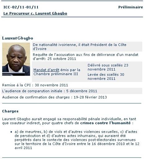 Mémo de la CPI sur Laurent Gbagbo