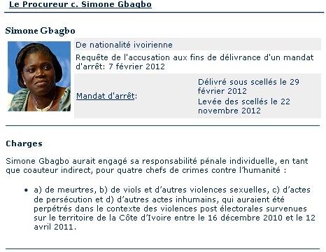 Mémo de la CPI sur Simone Gbagbo